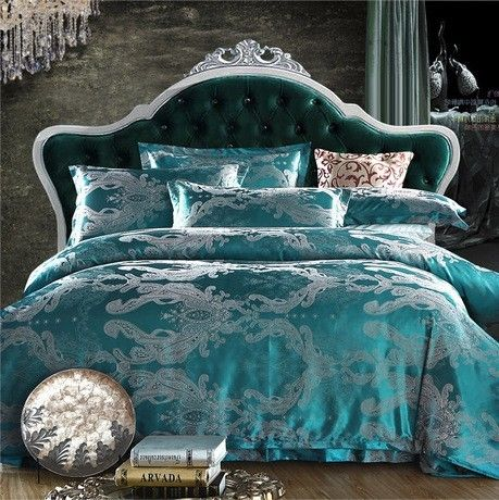 Hot Sale Queen Full King Size 4pcs Silk Jacquard Satin Bedding