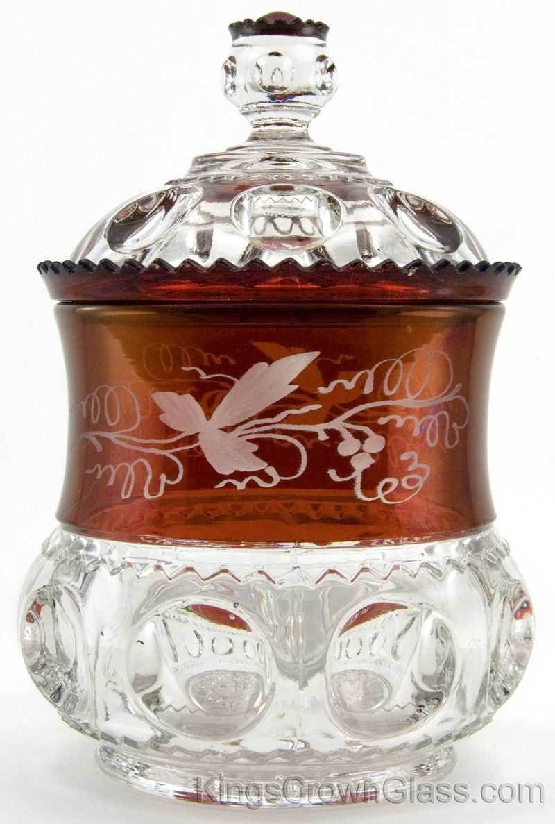 Kings Crown Glass U S Glass Co Sugar In Engraved Ruby Stain Kings Crown Pattern Glass Gorgeous Glass