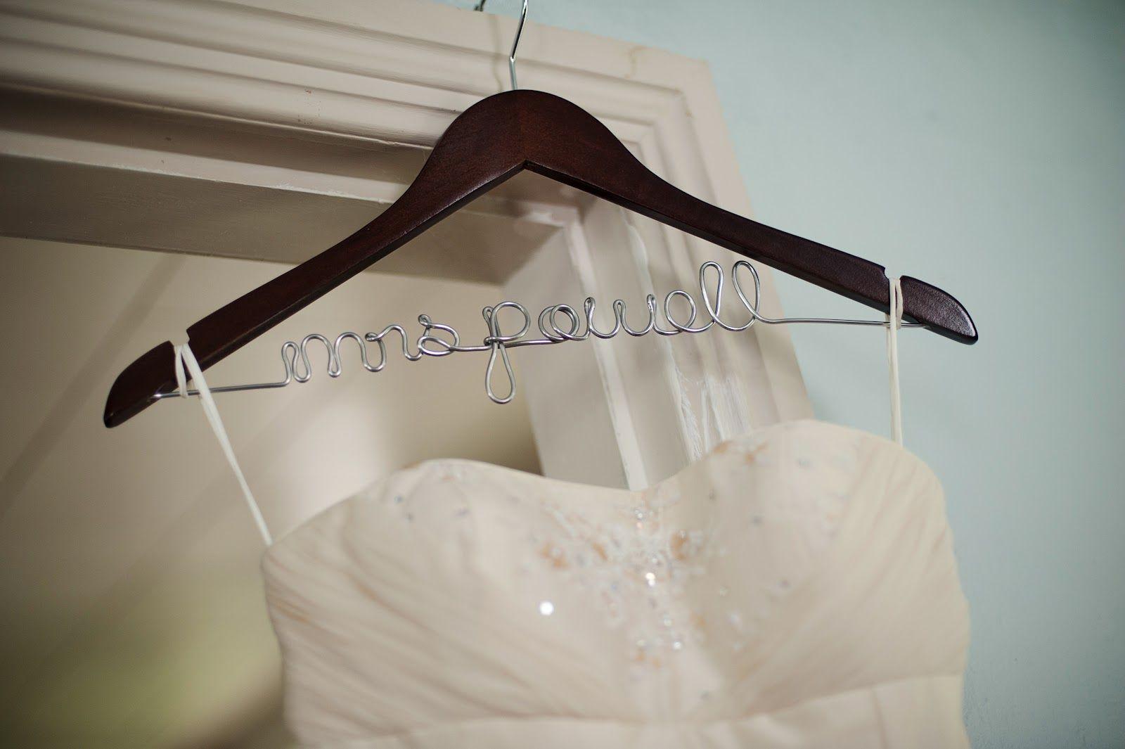Novel Wedding Gifts: Grosgrain: Wooden Wire Name Hangers DIY
