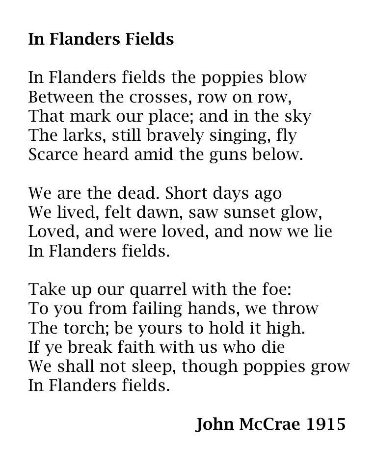 Remembering John Mccrae Flander Field Poem Poems In Paraphrase
