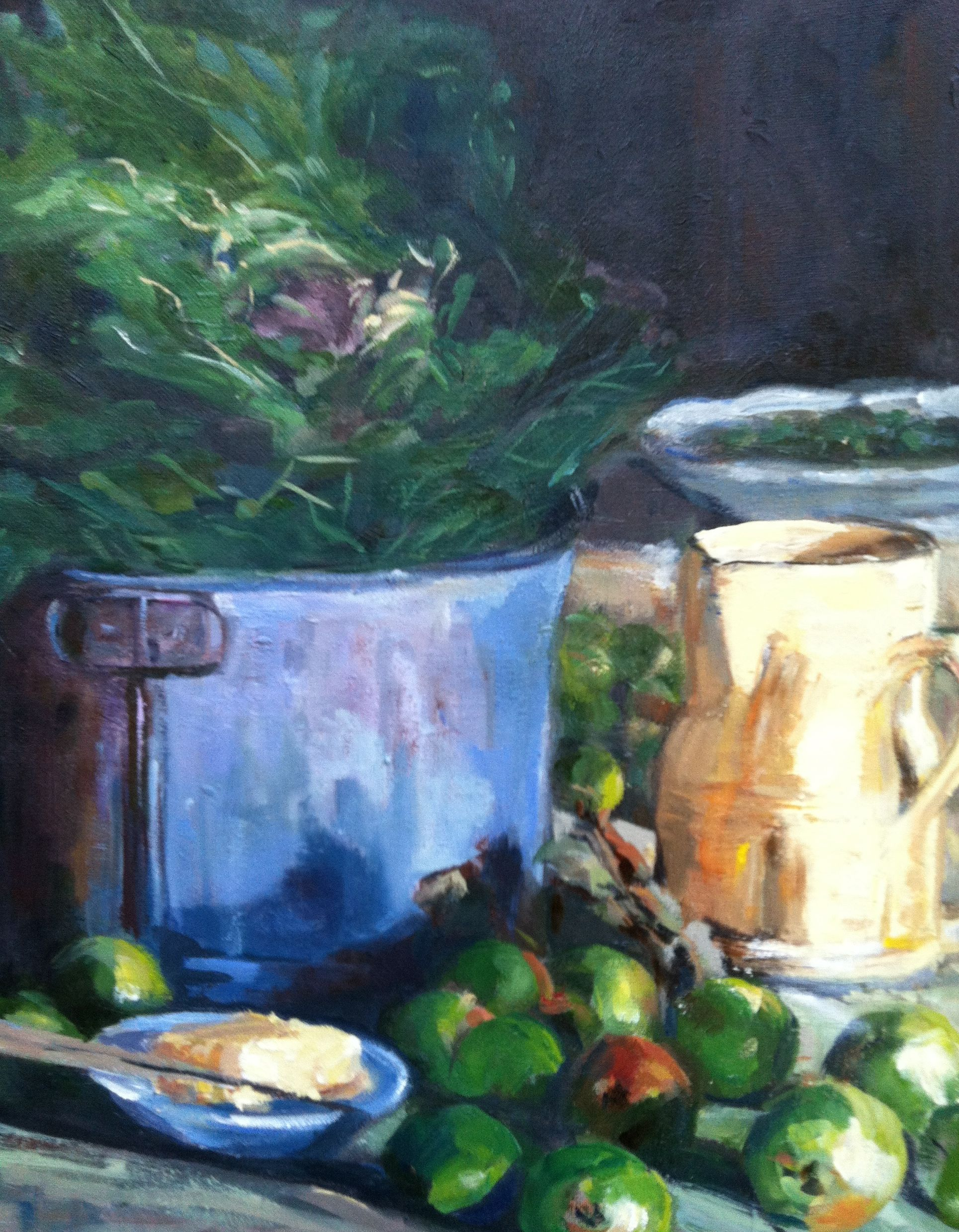 """""""Kale in a Pail"""" painting by Patty Lenz"""