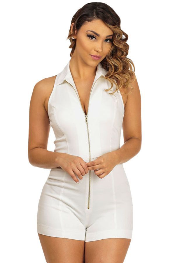 dd30c6bc64a White Sleeveless Fitted Shirt Collar Romper