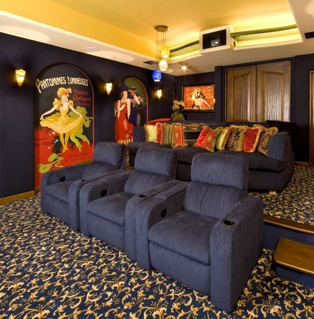 Home Theater With Black Seats And Patterned Carpet