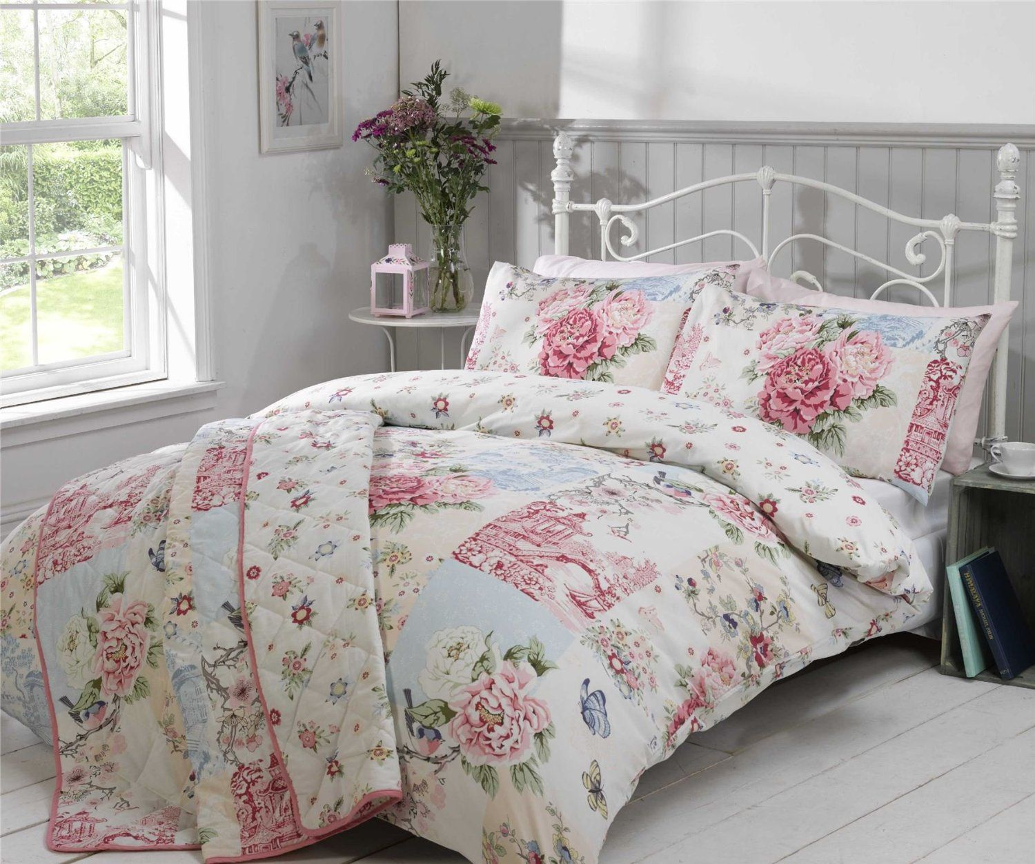 Kuche Rosali Patchwork Pink Blue Floral Butterfly Willow Bird Canadian Twin