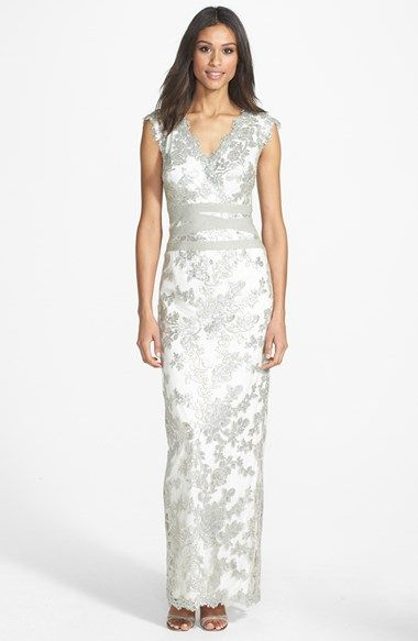 Tadashi Shoji Embellished Lace Column Gown available at #Nordstrom