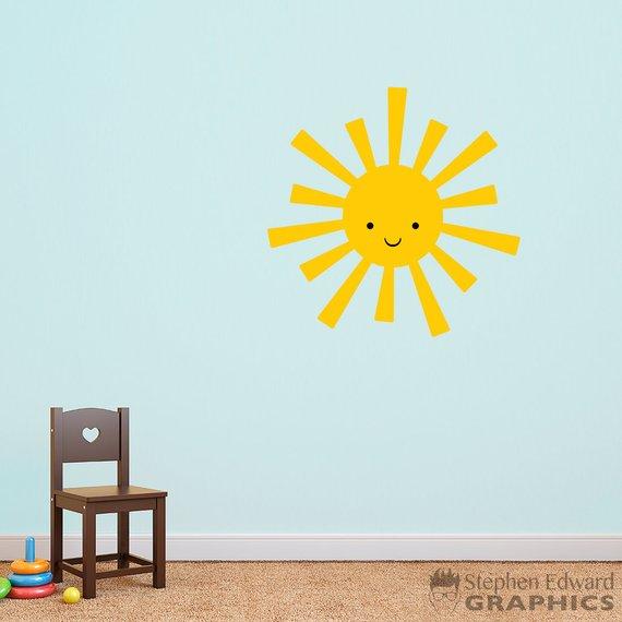 Sun Wall Decal - Playroom Wall Art - Children Bedroom Decor ...