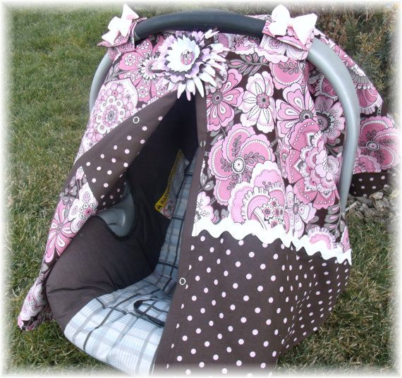 Carseat Canopy Cover Flowery Baby Pinks 3699 Via Etsy