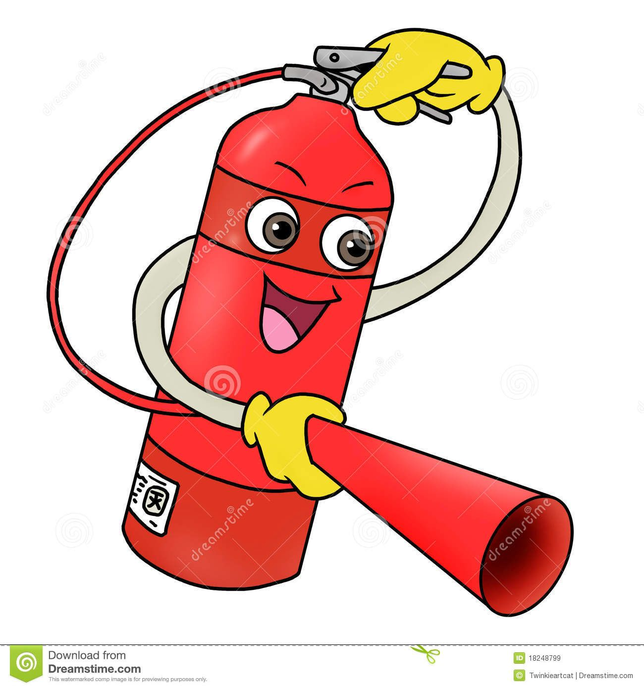 funny cartoon fire extinguisher fire extinguisher icon royalty