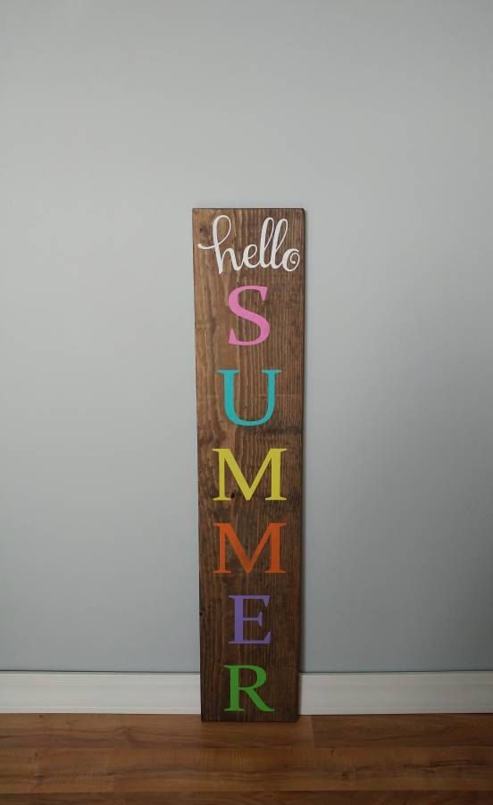 Hello Summer   Welcome Sign   Front Porch Sign   Reversible Sign   Wood  Sign   Outdoor Welcome Sign   Outdoor Sign   Summer Wood Sign