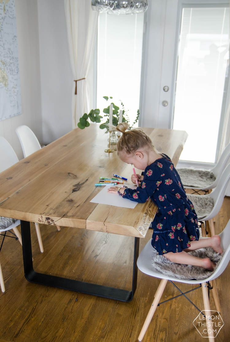 DIY Live Edge Wood Dining Room Table With Steel Legs