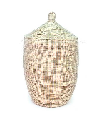 White Fair Trade African Basket Hamper Laundry Hamper Basket