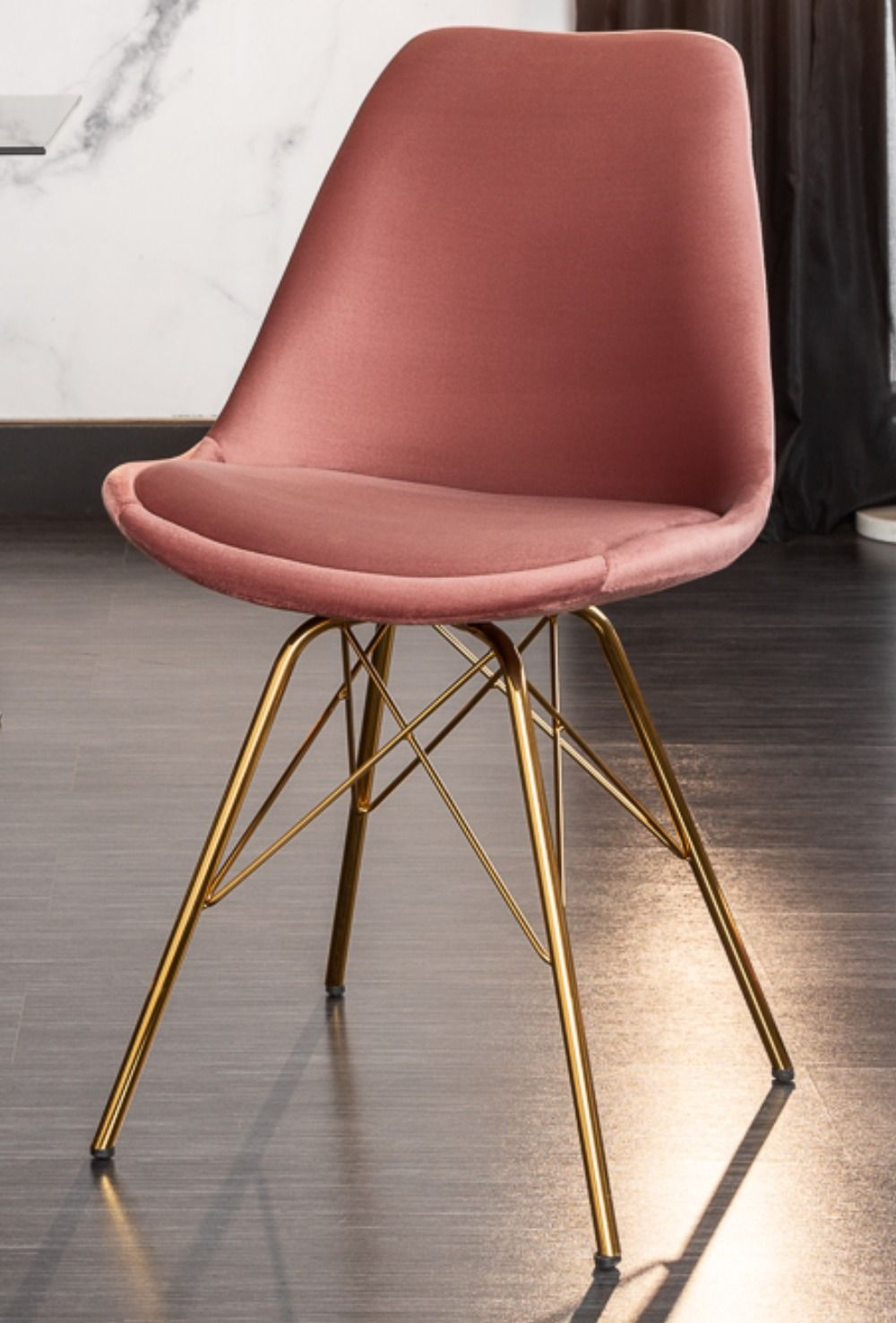 Design Stuhl Scandinavia Meisterstuck Samt Altrosa Goldene Beine Riess Ambiente De Stuhle Altrosa Meisterstuck