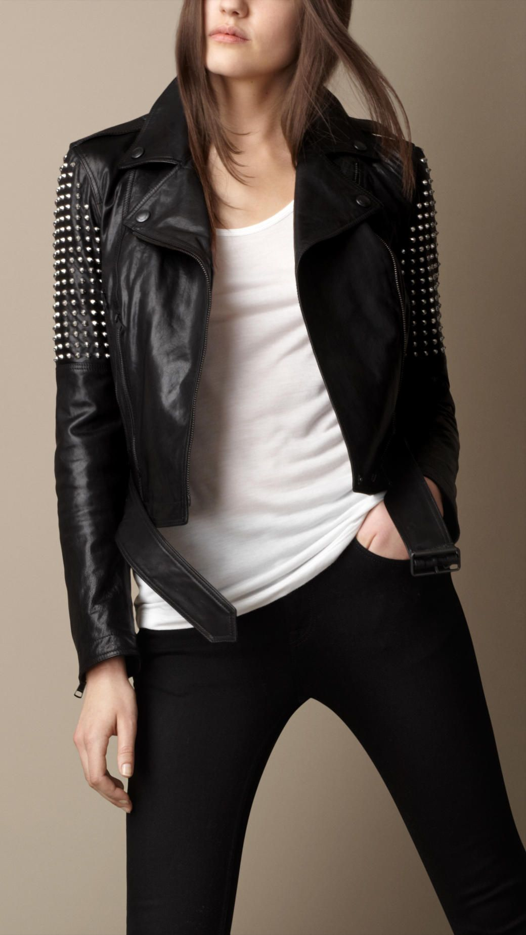 Studded Leather Biker Jacket | Burberry | Leather jacket