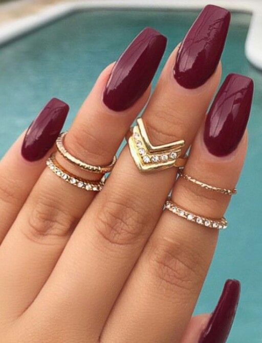 Dark Red Maroon Nails Burgundy Nails Trendy Nails