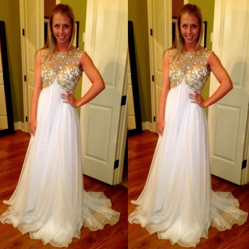 Pregnant Evening Gowns White and Gold Maternity Prom Dresses with ...