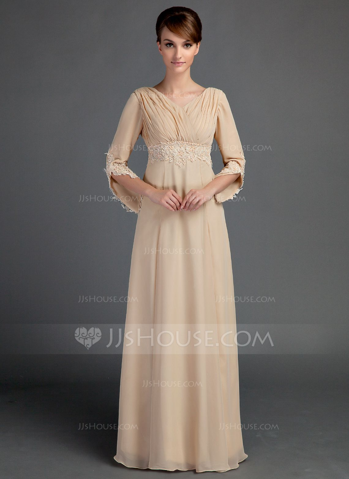 c2cd5c4c18 Empire V-neck Floor-Length Ruffle Lace Beading Zipper Up Sleeves 3 4  Sleeves No Champagne General Plus Chiffon Mother of the Bride Dress