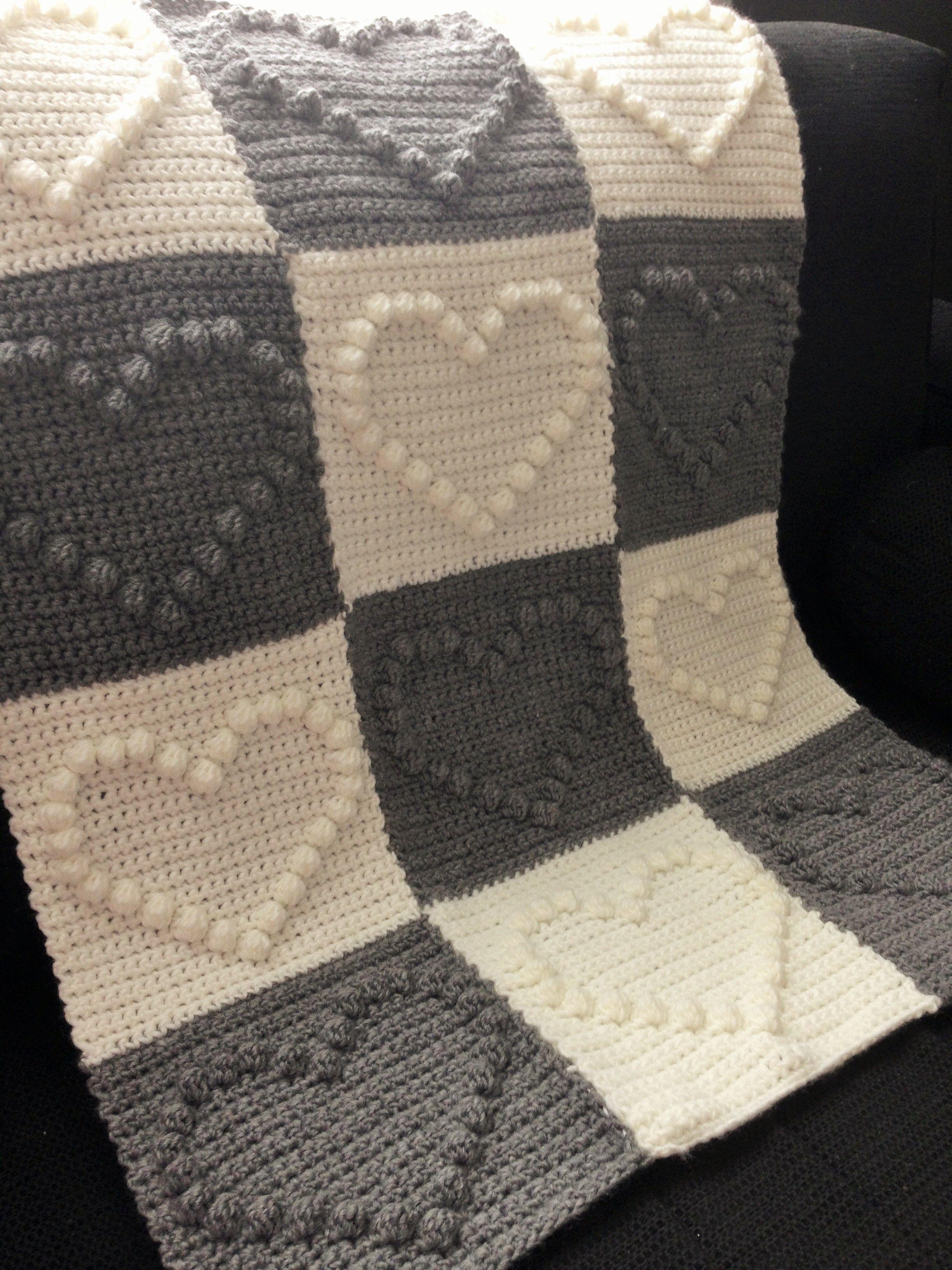 Deken Van Bobble Heart Patroon My Crochet Pinterest Häkeln