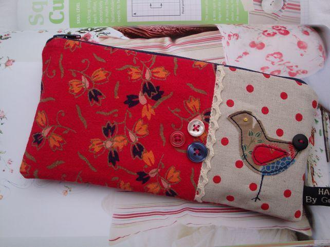 Cotton Pencil Case - zipper pouch - appliquéd bird . £7.90