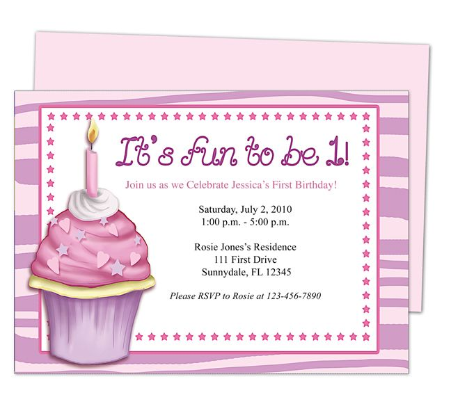 Babys St Birthday Cupcake St Birthday Invitation Templates - Editable birthday invitations for adults