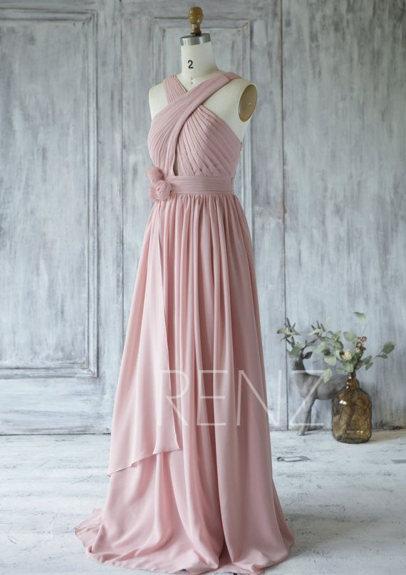 Bridesmaid Dress Dusty Rose Wedding Dress,Asymmetric Flower Prom ...