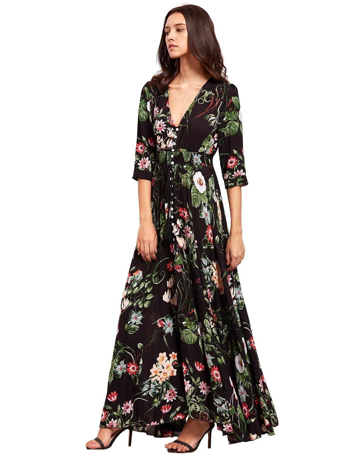 82748198c53cc Milumia Women s Button Up Split Floral Print Flowy Party Maxi Dress at  Amazon Women s Clothing store