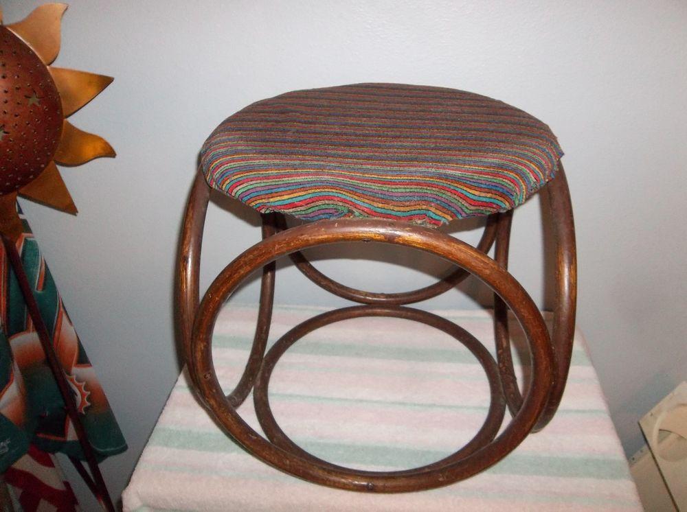 Excellent Vintage Mid Century Bent Bamboo Rattan Foot Stool Ottoman Short Links Chair Design For Home Short Linksinfo