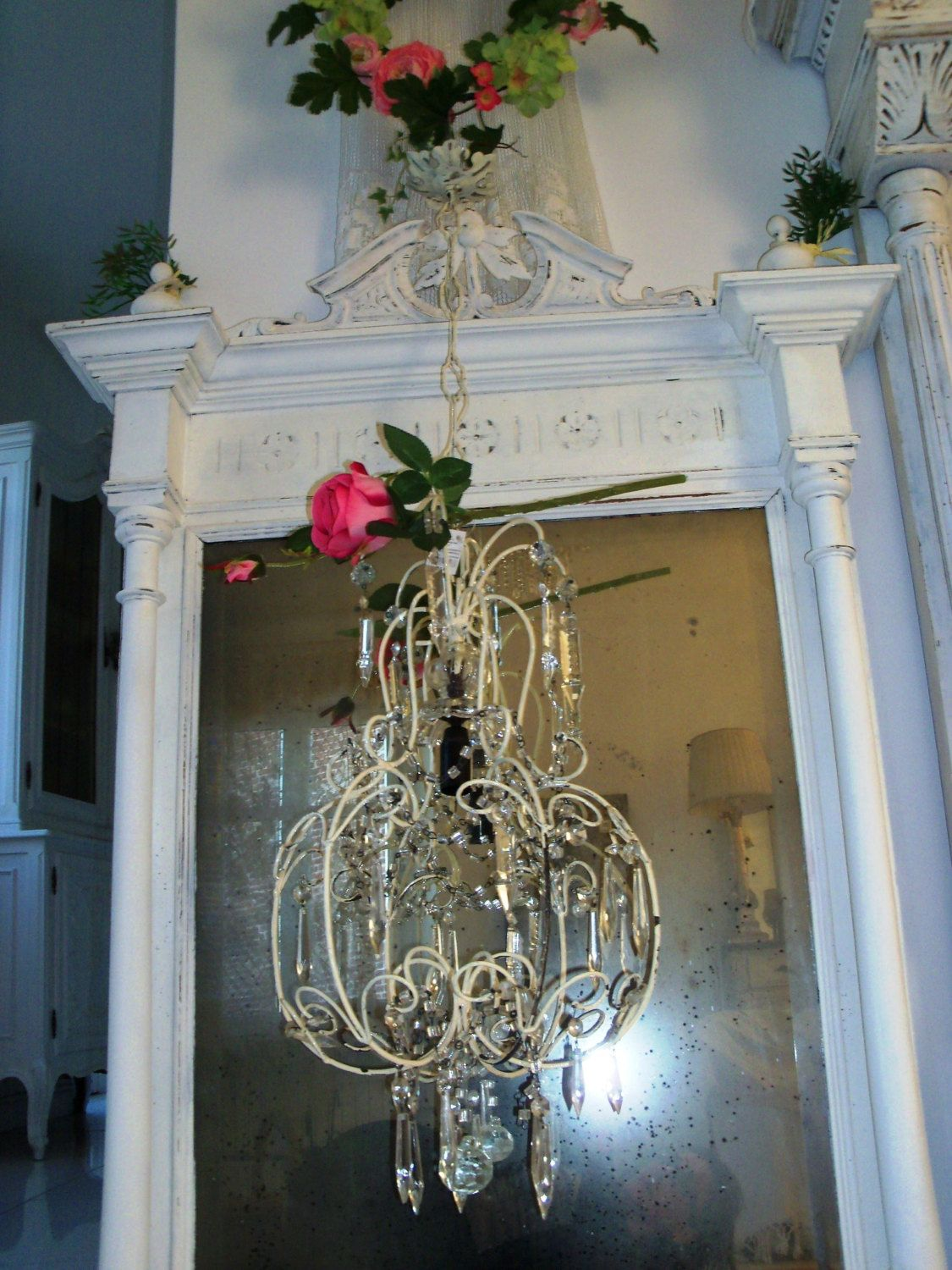 Great priceitalianwhite beaded birdcage shabby chic wrought iron white birdcage shabby chic wrought iron and crystal drops vintage italian french chandelier chateau budoir style arubaitofo Images