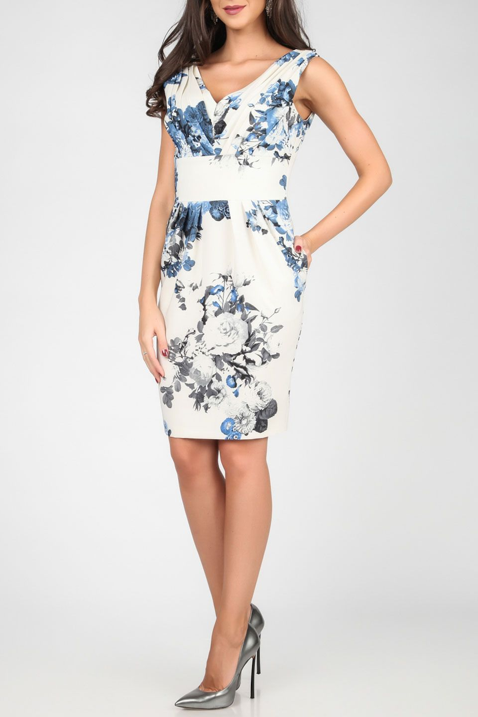 Isabel by Rozarancio - Nr 11 Printed Pencil Sleeveless Dress in White & Blue