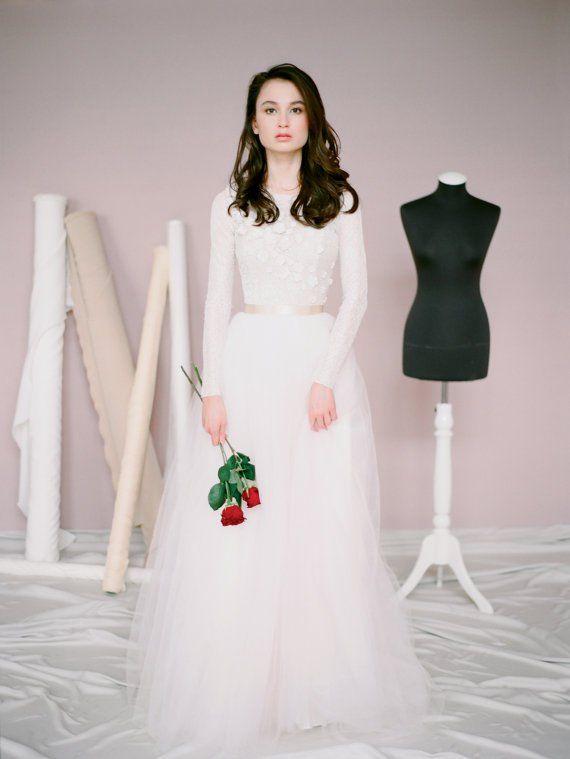 Handmade Long Sleeve Wedding Dress | Wedding dress, Wedding and ...