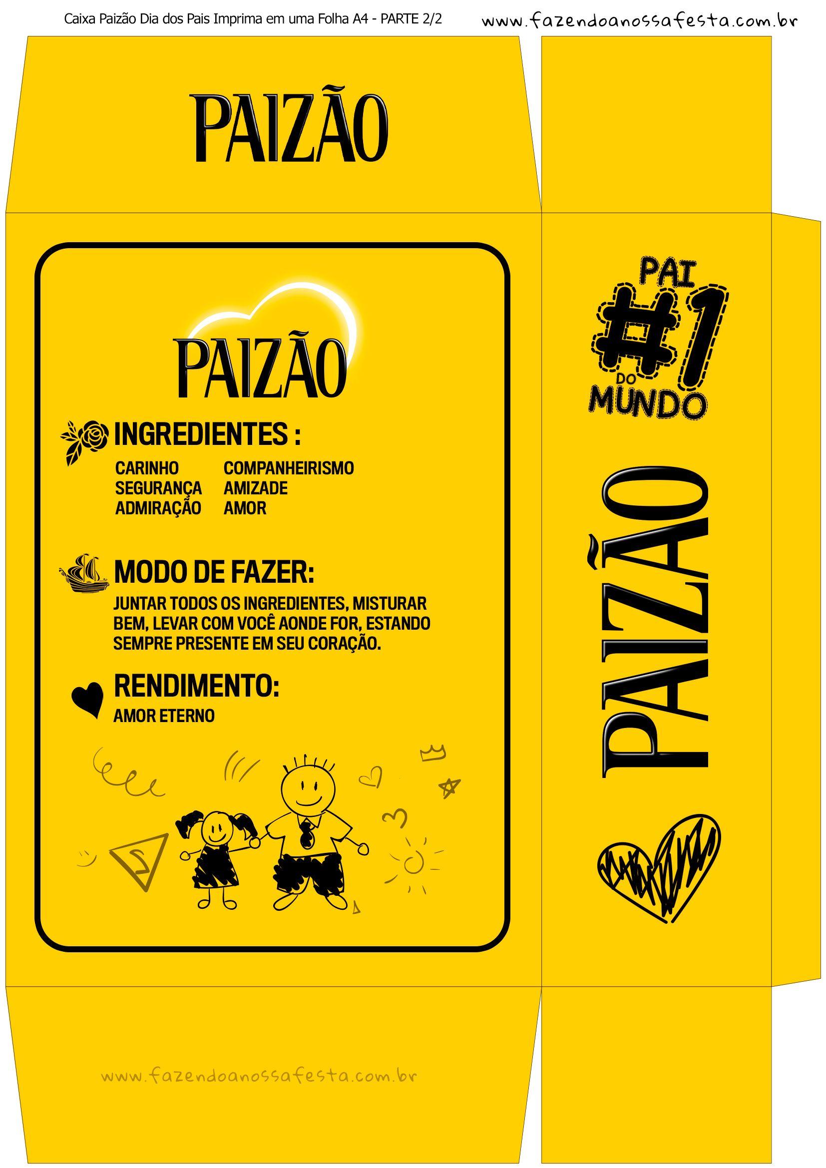 39372eb1dcbbae Caixa Paizao Presente Dia dos Pais - Amarelo Menina 2-222 | dia das ...