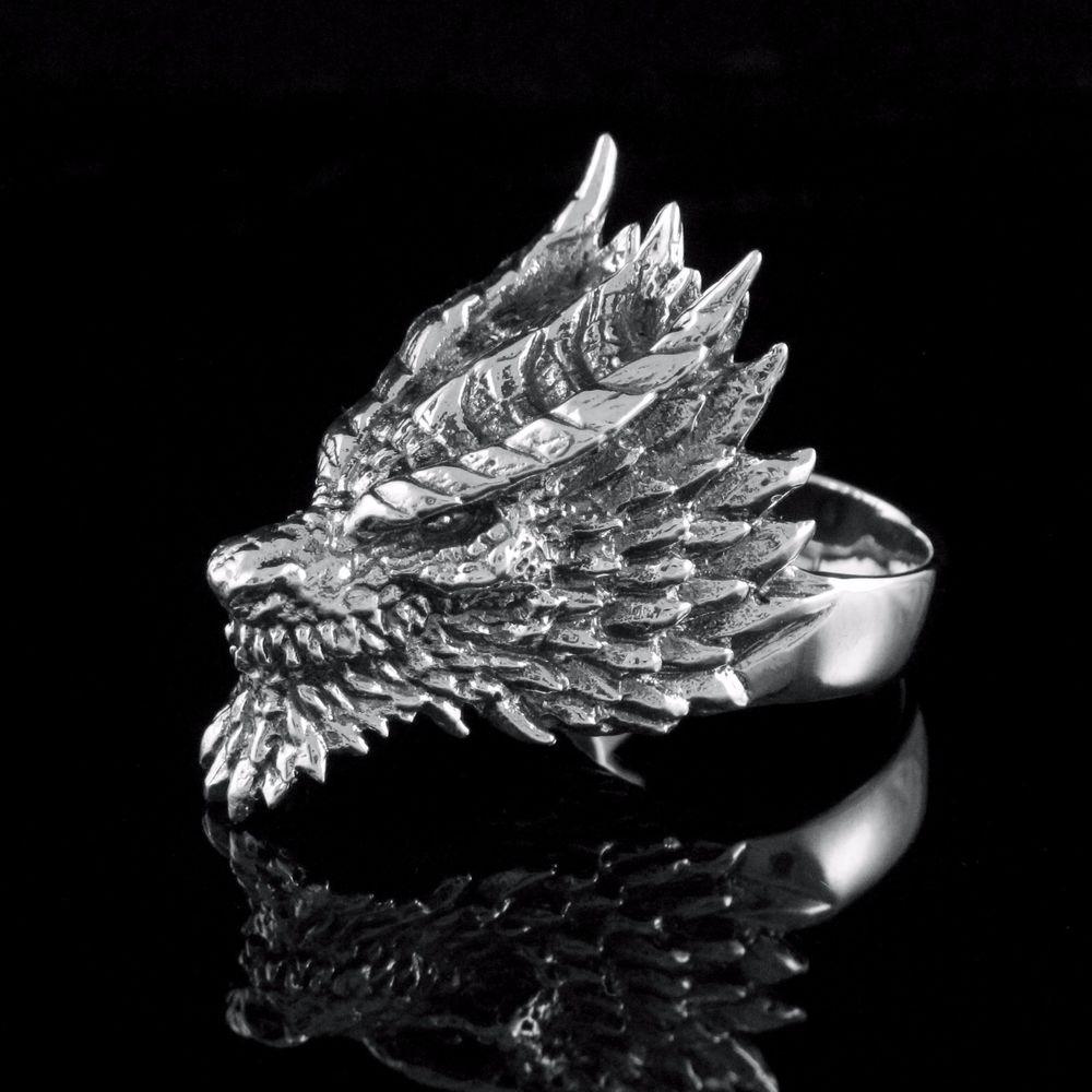 Fire Dragon Ring 925 Solid Sterling Silver Men Rocker Biker Sz 10 Limited Craft | eBay