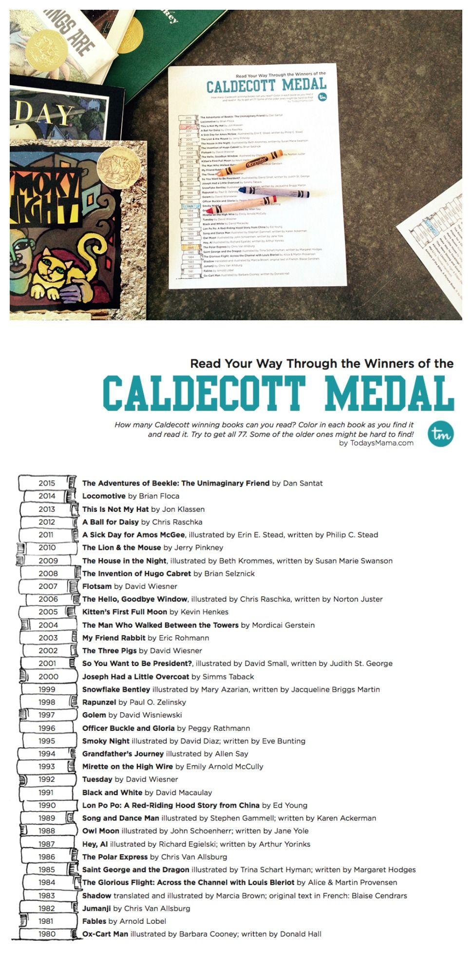 caldecott medal reading list printable reading challenge