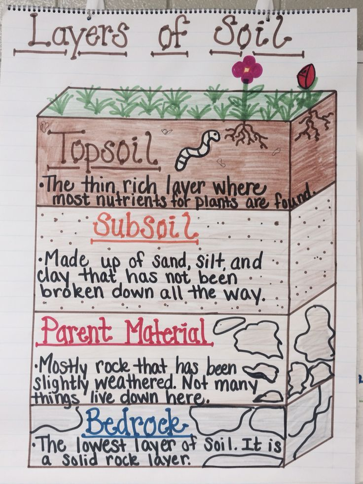 Layers of soil anchor chart science pinterest anchor for What is dirt composed of