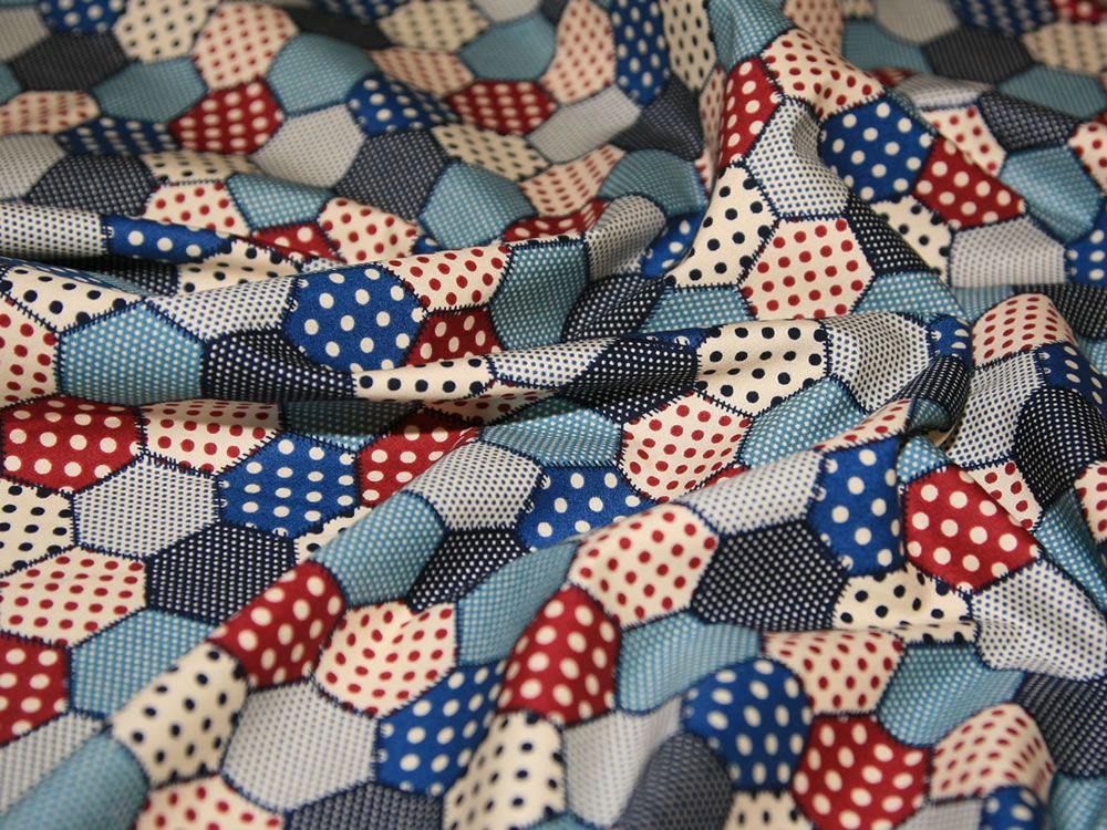 Denim Retro Patchwork Print Cotton Poplin Fabric - per metre