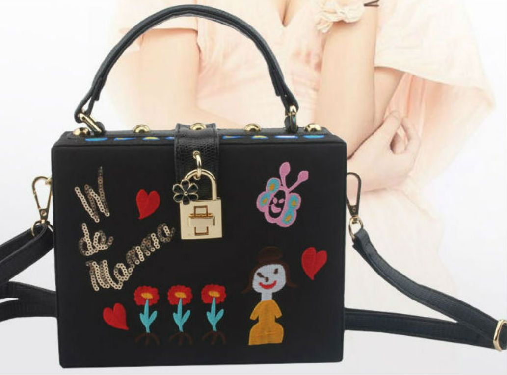 Women shoulder bag applique embroidery handbags bag leather pu