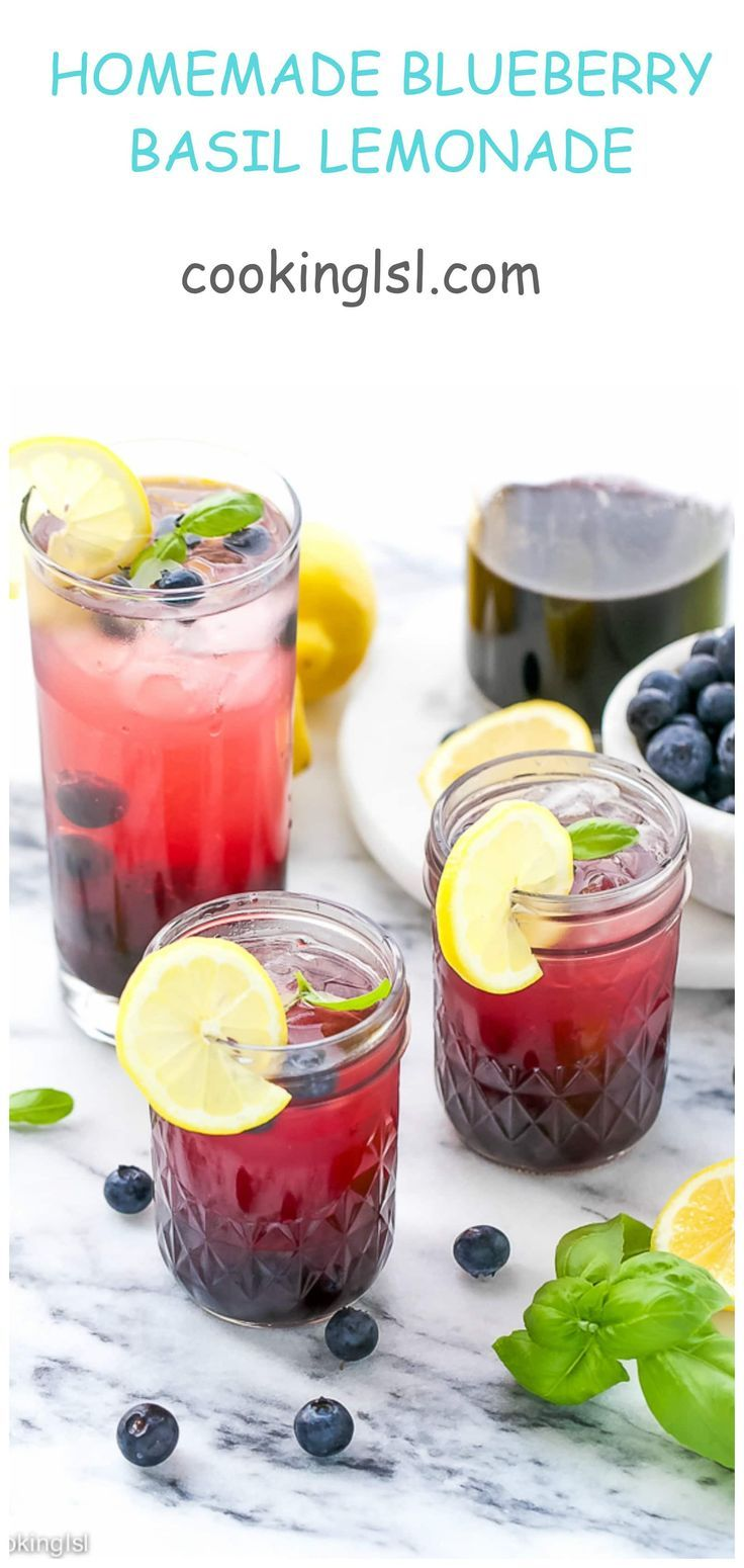 HOMEMADE-BLUEBERRY-BASIL-LEMONADE #basillemonade