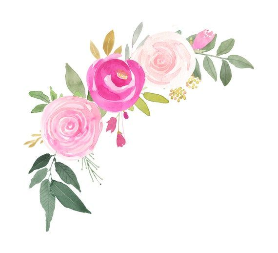 Handpainted Watercolor Floral Wreath Pink And Gold Roses Png Etsy In 2021 Floral Wreath Watercolor Floral Watercolor Floral Stationary