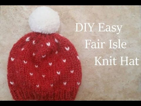 DIY Knit Chunky Fair Isle Hat (Fast & Easy) | Knit hats and ...