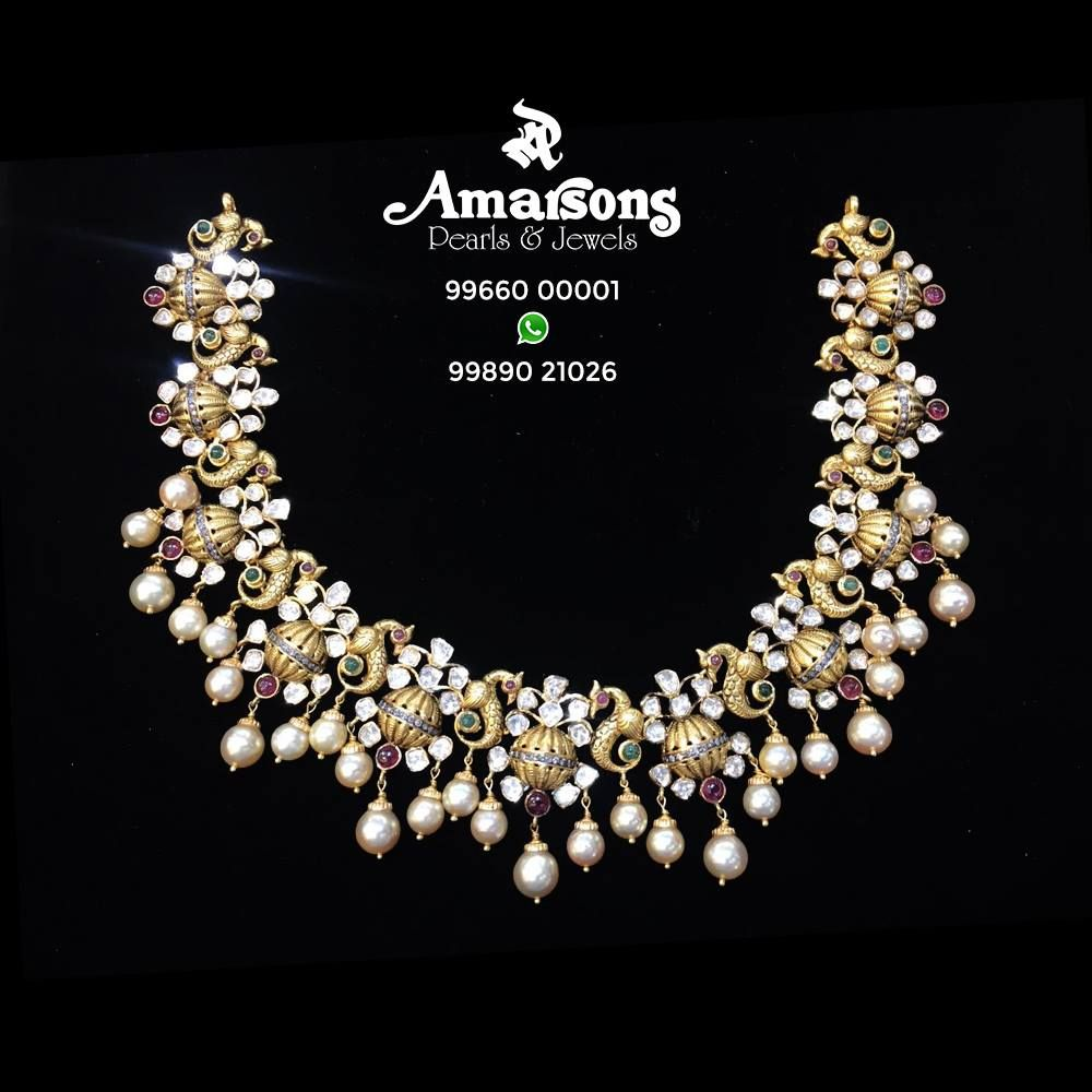 Antique Gold Necklace at Amarsons Pearls Jewels Necklace with
