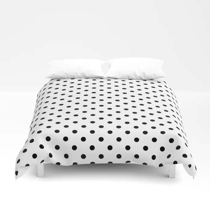 Black And White Small Polka Dots Pattern Duvet Cover By Sunshineprints Society6 Duvet Cover Pattern Black Duvet Cover Duvet Covers