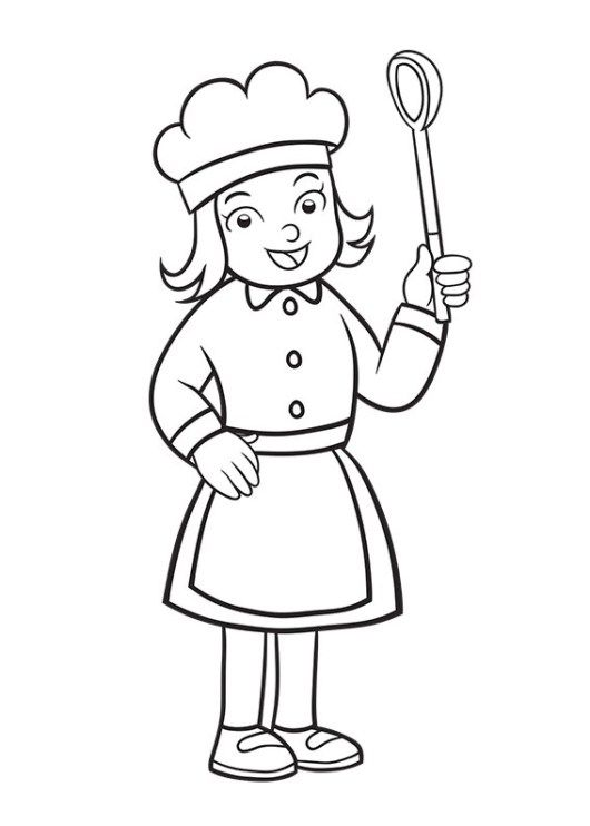 Girl Chef coloring sheet for kids | Profession Coloring Pages ...