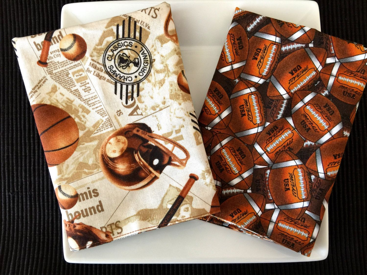 Back To School Large Lunchbox Napkins, Reversible Football & All American Sports Cotton Prints.  Set of 2 Kid's Cloth Resuable Napkins. by TableForAllSeasons on Etsy