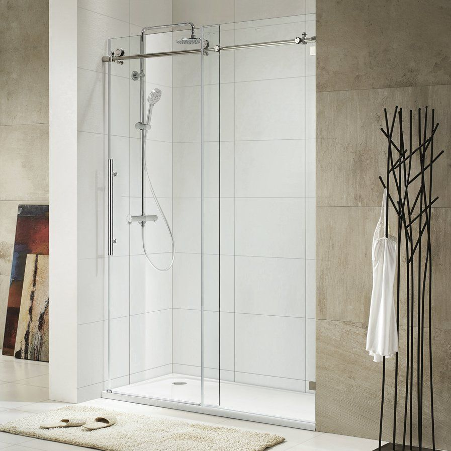 Basco Vinesse 57 W X 76 H Single Sliding Semi Frameless Shower Door Wayfair Shower Doors Frameless Shower Doors Sliding Shower Door