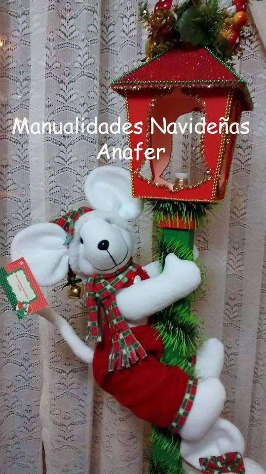 Farol con ratones navide os proyectos que intentar - Decoracion navidena artesanal ...