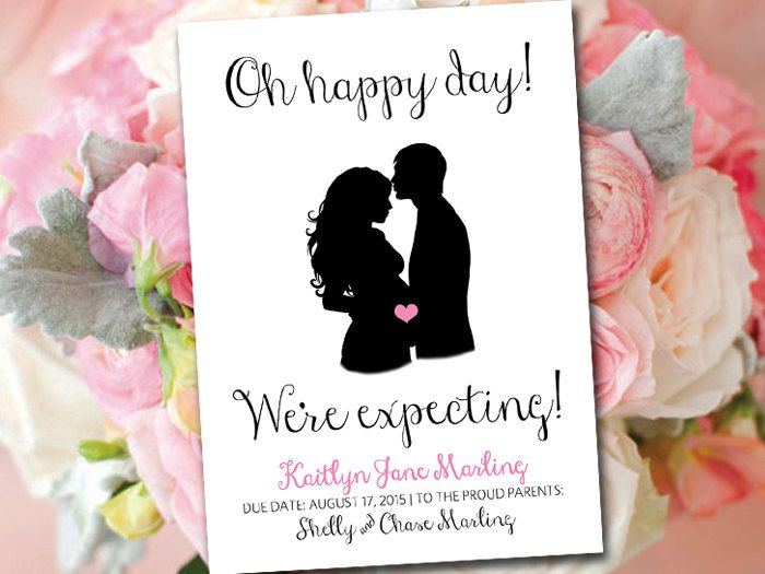 Baby Announcement Template Printable Baby Girl Announcement Card – Baby Announcement Cards Etsy