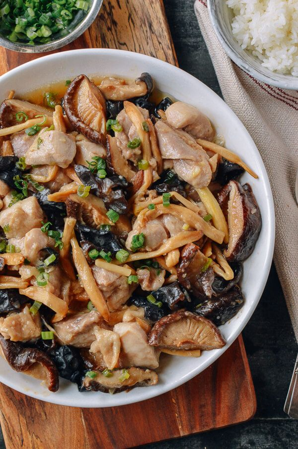 Steamed Chicken With Mushrooms Dried Lily Flowers Recipe Chinese Cooking Steam Recipes Steamed Chicken