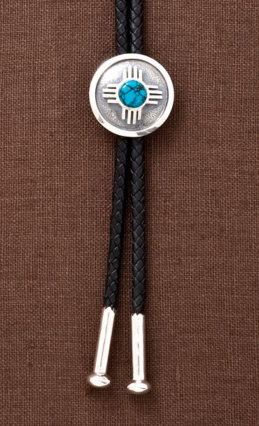 78d106e5d446 Zia' Bolo Tie in Sterling Silver with Turquoise | Jewelry - Navajo ...