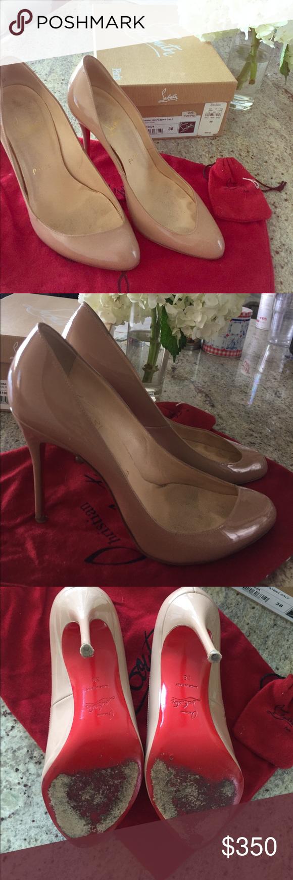 111c16e773a Christian Louboutin Maudissima 100 Patent Calf Nude heels, size 38 ...