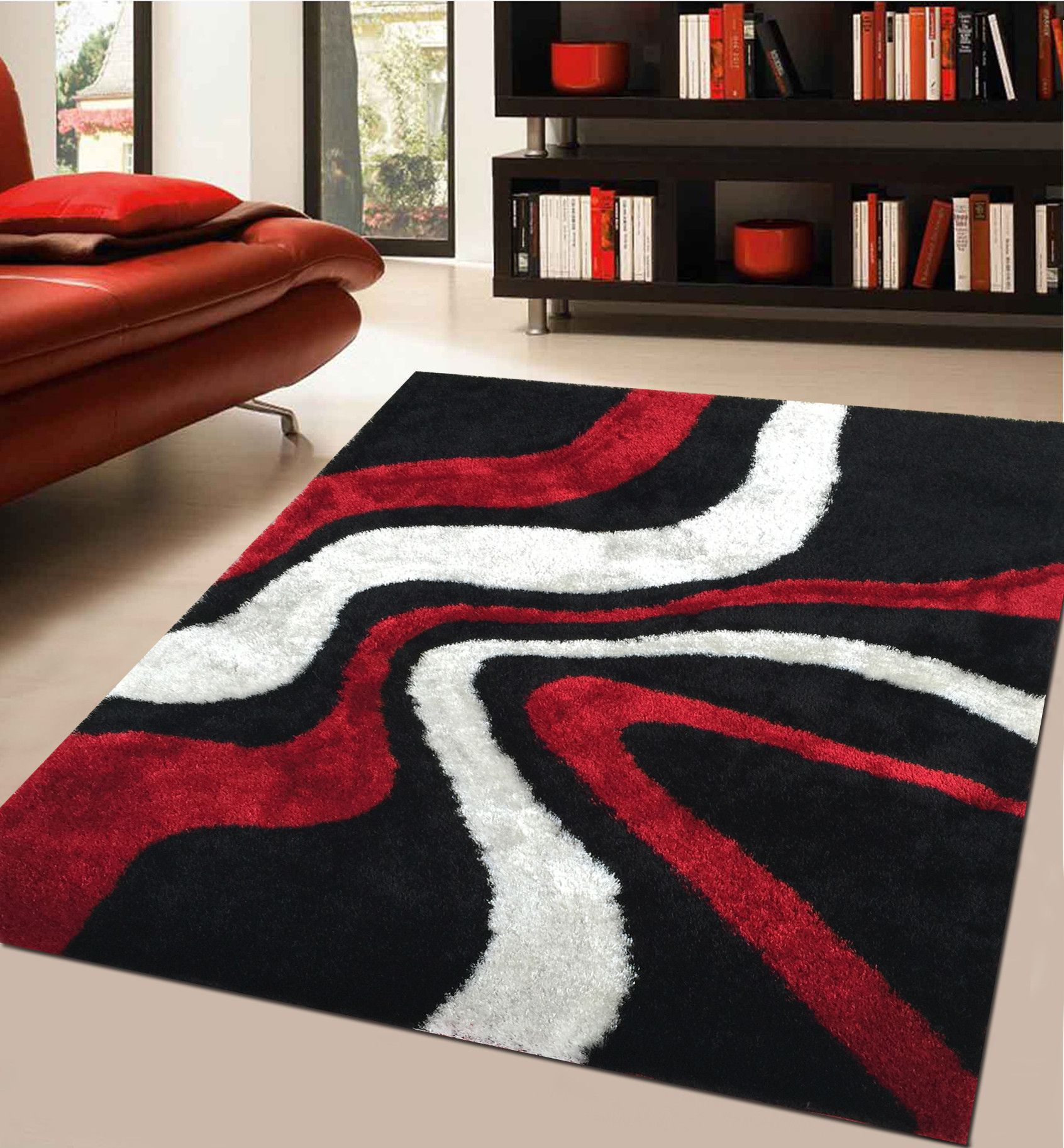 Soft Indoor Bedroom Shag Area Rug In Red Cherie Black Living Room Shag Area Rug Room Rugs