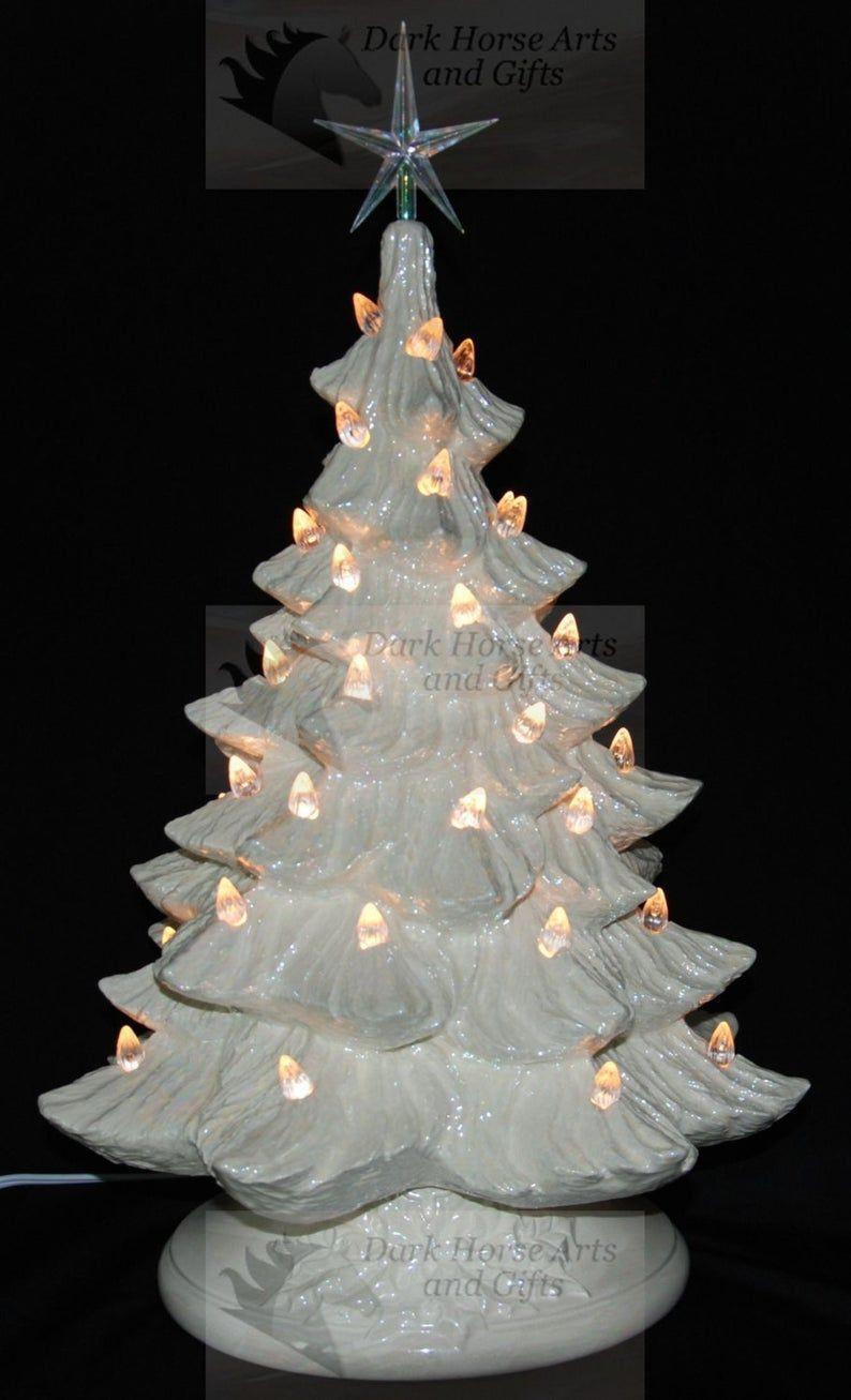 Mother Of Pearl White Christmas Ceramic Christmas Tree W Etsy Christmas Lights Holiday Decor Christmas Christmas Tree Inspiration